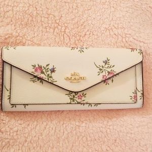 COACH Cream Floral Leather Wallet